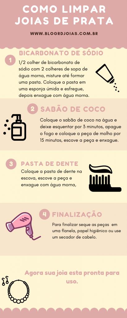 Infográfico de como limpar suas joias de prata, com as mesmas informações abaixo